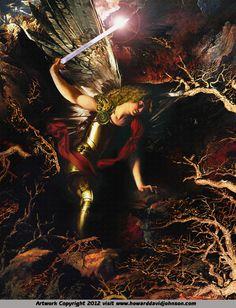 Michael Cutting Through Fear by Howard David Johnson ~ St. Michael the Archangel