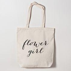 Flower Girl Calligraphy Tote Bag