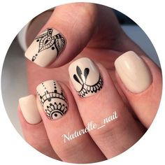 Having short nails is extremely practical. The problem is so many nail art and manicure designs that you'll find online Henna Nails, Lace Nails, Henna Nail Art, Lace Nail Art, Gradient Nails, Fun Nails, Acrylic Nails, Milky Nails, Uñas Diy