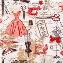 off-white and red tailor fashion Paris Timeless Treasures vintage sew fabric