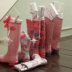 rain boots as christmas stockings...