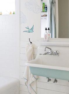 Light Blue Kohler Brockway Trough Sink - Bird Wallpaper and Shiplap Walls