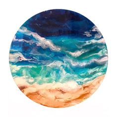 """Life's a beach"" 60cm round resin artwork. $250"