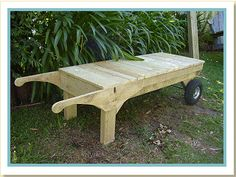 This wooden garden platform cart will probably become one of the most used items around the garden.    Not only can it be used as a carrier, but also as a deck to stand on to help with such tasks as trimming the tops of slightly out-of-reach hedges and it can even be used as a moveable bench seat.