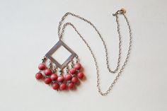 """Classic Vintage Aarikka Wood Bead and Silver Plated Pendant """"Harlekiini"""", by LifeUpNorth on Etsy A Hook, Silver Plate, 1960s, Raspberry, Hanger, Pendant Necklace, Chain, Beads, Wood"""