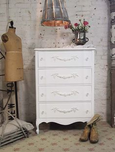 Painted Cottage Chic Shabby White Dresser CH319 by paintedcottages, $325.00