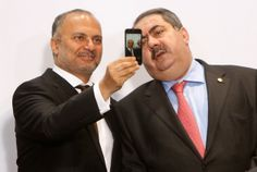 Minister of State for Foreign Affairs of The United Arab Emirates Anwar Mohammad Gargash, left, takes a selfie with Iraqi Foreign Minister Hoshyar Zebari, aka The Lads.