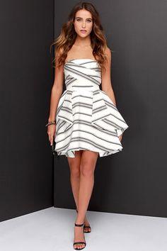 Cameo Night Tale Dress - Strapless Dress - Striped Dress - $238.00