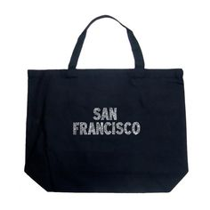 Womens Los Angeles Pop Art Large Tote Bag - SAN FRANCISCO... ($13) ❤ liked on Polyvore featuring bags, handbags, tote bags, black, handbags & wallets, man tote bag, tote bag purse, tote purse, handbags purses and handbags tote bags