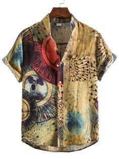 Vintage Men's Floral Shirt is fashionable and cheap, come to Hawalili to find out about the Clothing Short Sleeve Collared Shirts, Collar Shirts, Redo Clothes, Clothing Redo, Hippie Men, Tribal Shirt, Linen Tshirts, Couple Outfits, Hippie Outfits