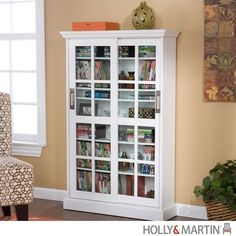 Holly & Martin Emerson White Sliding Door Media Cabinet