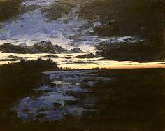 """Moody Sunset Blues"" acrylic pallet knife painting by carla mcgillivray"