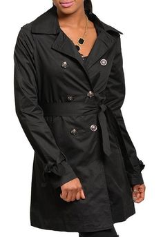 NEW Women's Black Coats Size Belt Trench Coat Jacket Collar Sz 4 #Fashion #Trench #Casual