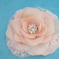 Blush Pink Lace Organza and Chiffon Rose Hair Clip  by HARTfeltart, $40.00