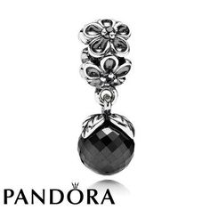 Pandora Black Friday 2015 Floral Nostalgia Black Spinel Charm Clearance Deals PDR780753CZ