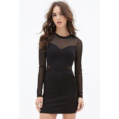 Forever 21 Mesh Paneled Bodycon Dress ($23) via Polyvore featuring dresses, fancy dresses, mesh dress, sleeve dress, mesh insert dress and sweetheart bodycon dress