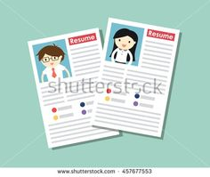 Business concept, Resume of businessman and business woman. Vector illustration.