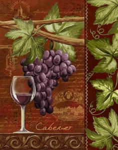 """""""Cabernet"""" by Thomas Wood - Wine glass & grapes Art - Vintage Typography #cBrowns #cGreens #cPurples"""