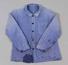 """VINTAGE WORN AND REPAIRED """"BLEU DE TRAVAIL"""" JACKET, BARBE BLEUE BRAND :: HICKOREE'S"""
