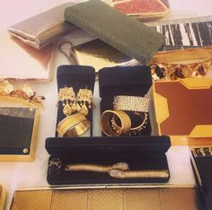 Pin for Later: How Christina Hendricks's Stylist Made THIS Happen Last Night Selecting the Clutch Lawren made sure to have plenty of options on hand, but they went with a two-tone gold Lee Savage box clutch. Courtesy of Lawren Sample