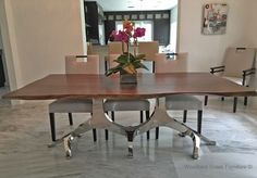 Modern Chic Walnut Table with Metal Branch Base by Woodland Creek Furniture