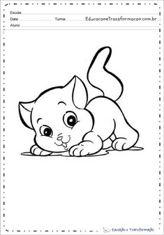 Desenho de animal para colorir e imprimir - Desenhos de animais Animal Gato, Snoopy, Fictional Characters, Print Coloring Pages, Tame Animals, Small Animals, Colors, Drawings, Fantasy Characters