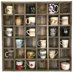 Kitchen Bath Cubby – Choose from 31 custom sizes – Storage for coffee mugs, paper, spices – Reclaimed wood decor - wood design Coffee Mug Storage, Coffee Mug Display, Coffee Cup Holder, Coffee Mugs, Mug Holder, Coffee Lovers, Coffee Tables, Cubbies, Texas Home Decor