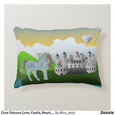 Cute Unicorn Love, Castle, Heart, Personalize Name Accent Pillow. Beautifully designed accent pillow for the nursery or little kids room. Designed by a Zazzle artist. More on my boards. Personalized Birthday Gifts, Personalized Pillows, Best Birthday Gifts, Custom Pillows, Kids Pillows, Throw Pillows, Castle Unicorn, Baby Shower Gifts, Baby Gifts