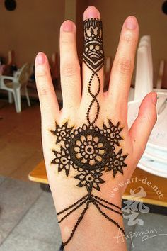 Hand henna tattoo designs ~ this one's like an ornate bracelet, how cool.