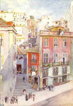 A Baixa vista do Jardim de S. Pedro de Alcântara, de Alfredo Roque Gameiro - Old Lisbon