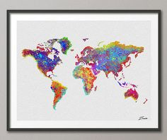 Large watercolor world map poster art print instant download world map poster illustration world map art print wall wedding gift poster giclee wall decor world map art decor wall hanging gumiabroncs Gallery