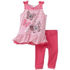 Young Hearts Baby-Girls Infant Butterfly Tunic With Legging Set $22.40