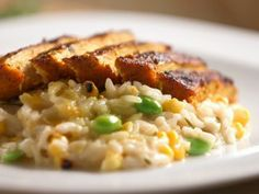 Grilled Chicken with Creamy Corn Risotto from CookingChannelTV.com-bal arneson