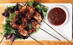 Serving plate of BBQ Chicken Skewers   2CookinMamas: