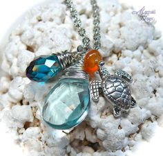Sea Turtle Necklace, Hawaiian honu jewelry from Hawaii by Mermaid Tears. $25.00, via Etsy.