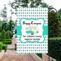 Happy Campers Flag | Camping Flag | Camp Flag | Glamping | Personalized Camping | Glamping Decor | Camping Sign | Camp Site Flag  #Glamping #CamperSign #PersonalizedCamping #WelcomeFlag #GlampingDecor #GardenDecor #CampFlag #CampSign #CampingFlag #GardenFlag
