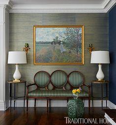 Artwork above the settee pulls the parlor's color scheme together. - Photo: Werner Straube / Design: Corey Damen Jenkins