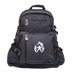 """Super Saiyan Goku Dragon Ball Z Sport Heavyweight Canvas Backpack Bag in Black & White, Large. GREAT EVERYDAY BAG: Large Main Compartment, big enough to fit a Laptop (up to 12"""" inches: Small bag & 15"""" inches: Large bag), 3 Front Zipper Pouches, perfect for personal items, and small accessories, and 2 Side Pockets with elastic and tie down straps, great for water bottles, car keys, and wallet. Perfect for school, traveling across campus and even a work bag. PERFECT MULTIFUNCTIONAL DESIGN…"""
