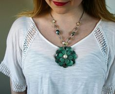 Metal Flower Pendant Painted Turquoise with Distressed Finish, Metallic Beads and Engraved Spacers on Silver Chain - Adjustable Necklace