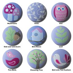 Hand Painted Knob - Children's Custom Hand Painted Woodland Garden Forest Animal Children's Drawer Knobs Pulls or Nail Covers for Kids. $5.00, via Etsy.