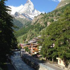 Summer morning view of the beautiful Matterhorn Mountain in the town of Zermatt, Switzerland.