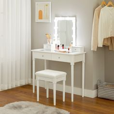 VASAGLE Vanity Set, Makeup Vanity Table with Mirror 10 Dimmable Light Bulbs, Cushioned Stool, 2 Large Drawers with Clear Tempered Glass Top and 2 Small Drawers, Gift Idea, White URDT172W01 Vanity Set, Small Vanity, White Vanity Table, Makeup Bord, Small Makeup Vanities, Dimmable Light Bulbs, Dressing Table Mirror, Small Drawers, Lampe Led