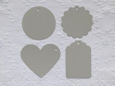 25 LIGHT GRAY Heart Scalloped Circle Hang Tag Shape Cardstock Paper Gift Tags by PorcupineSpines