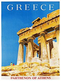 Greece, Parthenon of Athens Original Travel Poster Retro Poster, Poster S, Poster Prints, Art Prints, Greece Art, Athens Greece, Parthenon Greece, Vintage Travel Posters, Vintage Ads