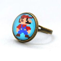 10 SALE Ring 8 Bit Super Mario Stand Ready by timegemstone on Etsy, £4.99