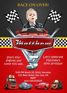 Disney cars birthday invitation card.  for more birthday cards, please visit https://www.etsy.com/shop/BirthdayInviteShop