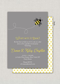 What will it Bee - Gender Reveal Party Invitation. $15.00, via Etsy.