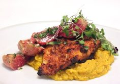 Spiced Rock Fish with Carrot Puree and Gingered Beets