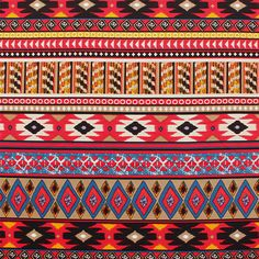 """Blue Red Ethnic Diamond Rows Ponte De Roma Knit Fabric - Colors of red, blue, orange, black, and more in a repeating rows print of diamonds and arrows ethnic style print on a taupe color super soft Ponte De Roma knit.  Ponte de Roma fabric is a thicker medium weight and has a nice stretch, excellent drape, and great recovery.   Fabric has a subtle horizontal texture.  Amazing designer fabric great for maxi skirts, dresses, tops, and more!  Design repeat is 23"""".  ::  $7.50"""