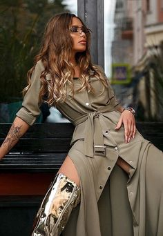 High Fashion Shoots, Brown Outfit, Sexy Boots, Casual Chic, Duster Coat, Wrap Dress, Stylish, Womens Fashion, Jackets